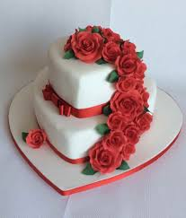 Michaela 2 Tier Heart Shaped Wedding Cake With Cascade Of Red Sugar