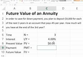 future value of an ordinary annuity in excel you