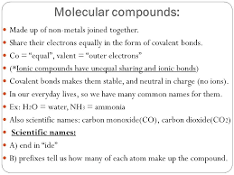 molecular pounds made up of non metals joined together