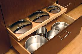 pull out drawer storage for pots and pans and pan lids cabinet drawers by