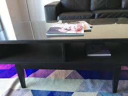 ikea regissor coffee table charcoal wood glass top