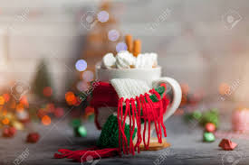 Rust Christmas Lights White Cup Of Hot Cocoa With Mini Marshmallows And Cinnamon With