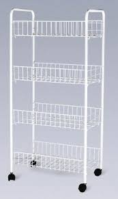 folding 4 tier metal wire shelves kitchen storage cart racks with white painting images