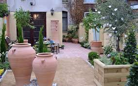 mediterranean outdoor furniture. Mediterranean Garden With Terracotta Pots And Outdoor Furniture N