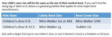 Medical Boot Size Chart Walking Boot Covers For Kids