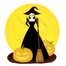 Halloween phù thủy chổi bí ngô đèn lồng mặt trăng phim hoạt hình vẽ tay |  Công cụ đồ họa PSD Tải xuống miễn phí - Pikbest