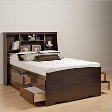 Prepac Manhattan Tall Queen Bookcase Platform Storage Bed in Espresso Finish