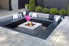 modern patio fire pit. Delighful Patio Perfect Outdoor Fire Pits Design Modern Ideas Featuring  Black Stone Square Bench And Contrast Whiteblack Scatter Cushion To Patio Pit