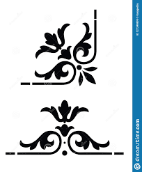 Corner Design Stencil Style Corner Design Stock Illustration