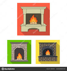 diffe kinds of fireplaces flat icons in set collection for design fireplaces construction vector symbol stock ilration vector by pandavector