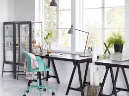 ikea office designer. Office Design Concept Black Study Desk Angular Legs Dark Lamp Light Blue Swivel Chairs Rattan Paper Basket Glass Iron Cabinetry Unit White Windows Ikea Designer