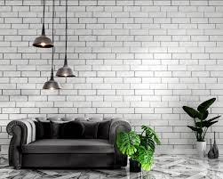 sofa decoration and white brick wall