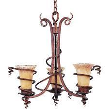 three light desert bronze vintage amber glass up chandelier
