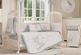 gray and white color for baby nursery bedding with idea winnie the pooh crib bedding for baby girl crib bedding sets and baby boy crib bedding sets