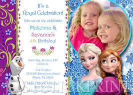 Frozen Anna Elsa Birthday Photo Invitation Printable