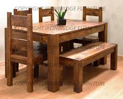 Bench Style Kitchen Tables Bench Style Dining Table Cabin Style Dining Log Table With