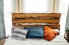 custom made live edge wood headboard and bed frame sassafras and oak