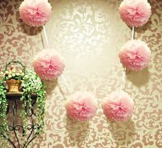 ez fluff 6 light pink hanging tissue paper flower pom pom party garland decoration