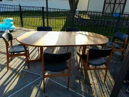 6 erik buck dining chairs table od mobler danish modern mid century teak