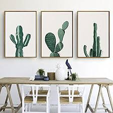 stylish cactus canvas print wall art poster home decor 3pcs unframed on cactus wall art framed with amazon stylish cactus canvas print wall art poster home