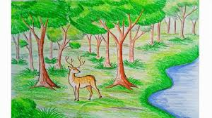 1280x720 forest scenery drawing how to draw the nature scene stepstep how