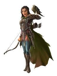 Ranger D D Female Human Ranger Or Hunter Archer With Hawk Pathfinder