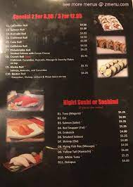 menu of sakura sushi grill