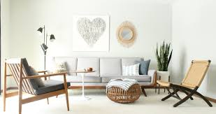 mid century modern living room, vintage pearsall style gray couch ...