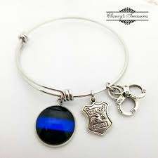thin blue line snless steel wire bangle bracelet police bracelet law enforcement jewelry officers wife gift police shield jewelry