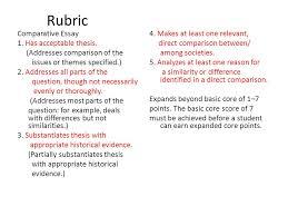 Compare Contrast Essay Rubric Rubric Writing Comparison Contrast Essay