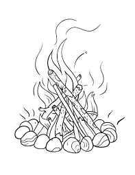 Small Picture Free Campfire Coloring Page