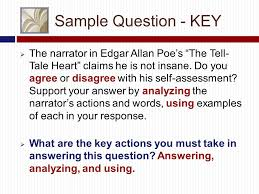 the literary essay exam kelli mcbride literature classes eng  sample question key  the narrator in edgar allan poe s the tell tale heart