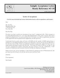 letter sample acceptance letter sample