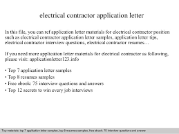 Electrical Contractor Resumes Electrical Contractor Application Letter
