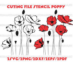 poppy template stencil poppy opium flower clipart stencil template poppy etsy