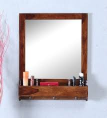 beveled square wall mirror in solid wood frame