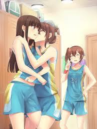 Lesbian anime girls in the bath