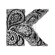 Fototapeta Písmeno K Dekorativní Abeceda S Bordó Zen Náplní Doodle Tetování