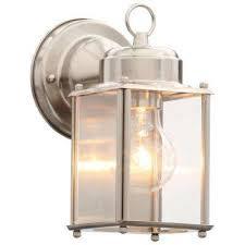 brushed nickel 8 in outdoor wall lantern
