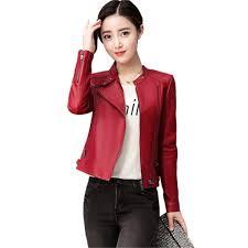 compre new women faux leather jacket plus size 4xl las leather jackets black red biker coat mulher motocicleta jacket ng 026 de noblegirl