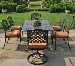 60 inch round resin patio table by 6 person luxury cast aluminum furniture dining set w swivel chairs
