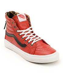 vans sk8 hi slim red leather zip shoes
