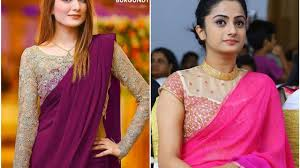 Simple Saree With Heavy Designer Blouse Partywear Plain Saree Blouse Ideas Simple Saree With Heavy Blouse Designs Collection