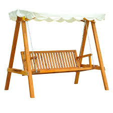 outsunny 3 seater wooden garden swing