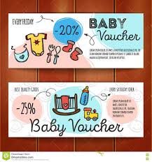 kids store coupon voucher or gift card design template stock vector set of discount coupons for baby goods colorful doodle voucher templates newborn accessories