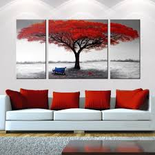 framed red tree oil painting on canvas