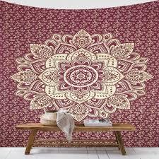 maroon gold mandala tapestry