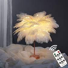 Satılık! 1 adet led tüy masa lambası sıcak beyaz ışık ağacı lambası uzaktan  kumanda ile tüy abajur düğün doğum günü dekoratif ışıklar \ LED Lambalar >  Global-Order.cam