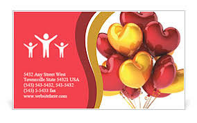 Birthday Business Cards Party Balloons Heart Shaped Birthday Celebration Decoration