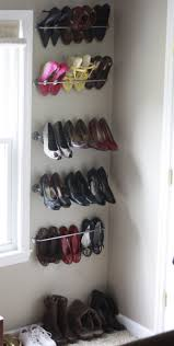 interior, Nice Design Of Cheap Shoe Storage Made Of Stainless Steel  Material Installed On The